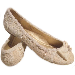 lace and pearl flat ivory wedding shoes