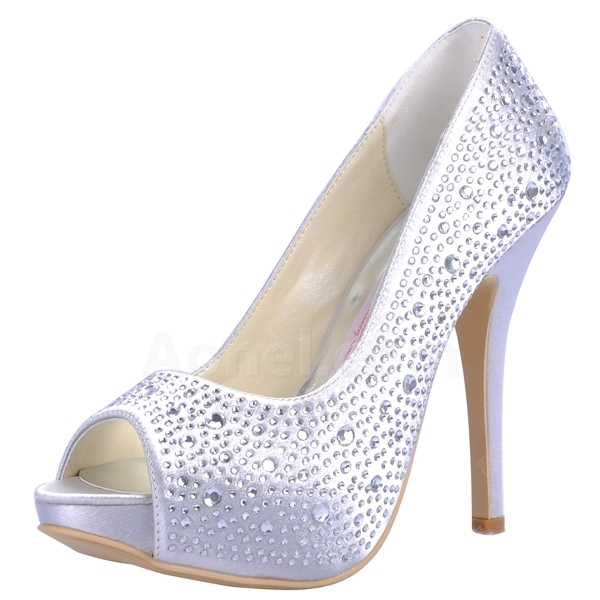 silver wedding shoes with rhinestones rhinestones